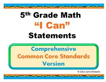 I Can 5th Grade Comon Core Math Statements