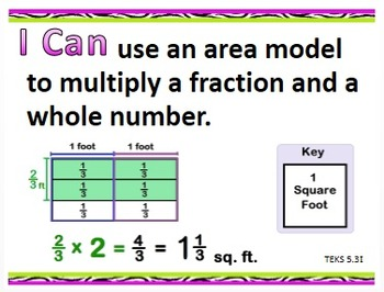 """I Can"" 5th Grade Math Statements--Updated TEXAS Version (lime green/purple)"