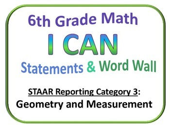 I Can 6th Grade Math and Word Wall (Set 3 of 4) Texas