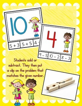 I Can Add & Subtract! Math Center (Clip It Cards)