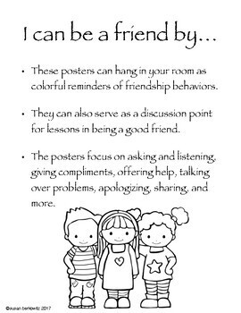 I Can Be a Friend Posters Visual Cues for Being Kind