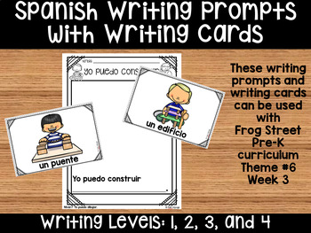I Can Build Spanish Writing Prompts & Writing Cards Can Be Used With Frog Street
