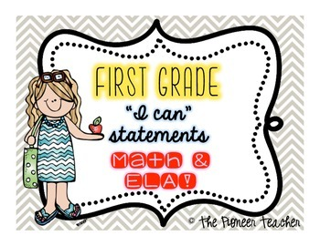 """""""I Can"""" CCLS Statements {First Grade Math and ELA}"""
