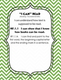 """I Can"" CCSS First Grade Posters in Green Chevron"