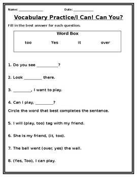 I Can! Can You? Vocabulary Practice