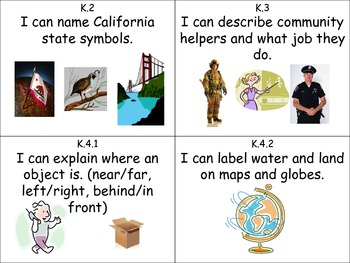 """I Can"" Cards for History/Social Science Kindergarten"