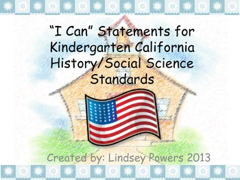 """""""I Can"""" Cards for History/Social Science Kindergarten"""