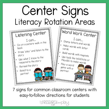 """I Can"" Literacy Center Direction Signs"