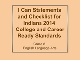 I Can Checklist and Cutouts for 2014 Indiana Standards - 8