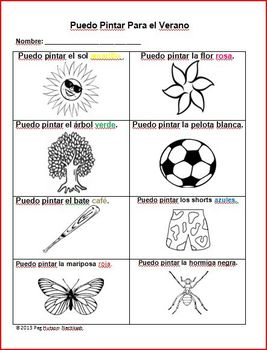 I Can Color for Summer Spanish version Freebie