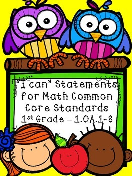 """I Can"" Common Core Math Standards for 1st grade FREEBIE!"