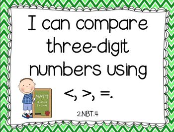 I Can Common Core  Math Statements for Second Grade