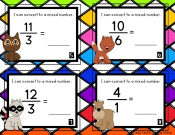 Improper Fraction Mixed Numbers Task Cards