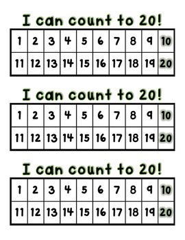 I Can Count 20~50~100 Number Charts