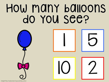 I Can Count Balloons Interactive PDF Counting Activity for Special Education