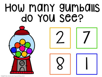 I Can Count Gumballs Interactive PDF Counting Activity for Special Education