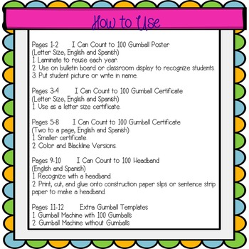 Count to 100 Certificate Recognition Printables (English and Spanish)