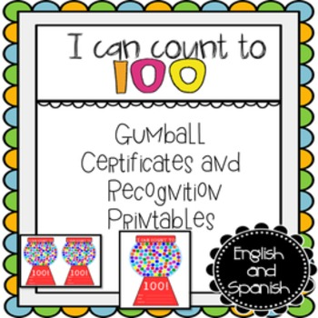 count to 100 certificate recognition printables english and spanish