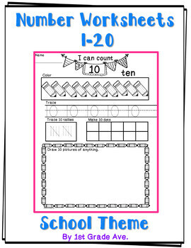 Back to School Number Workbook I  Can Count to 20!