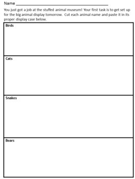 Classification Categorize animals