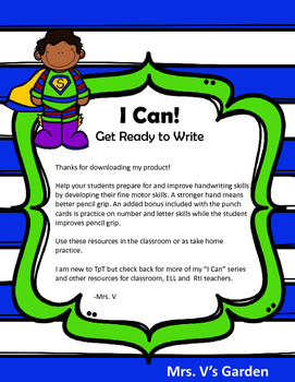 I Can Develop Fine Motor Skills: Get Ready to Write (No Prep)