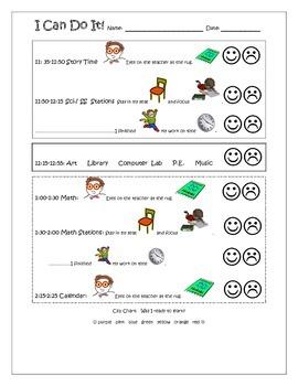 I Can Do It! Eyes on the Teacher Daily Behavior Log