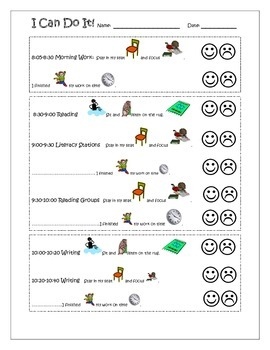 I Can Do It! Sitting and Listening Daily Behavior Log