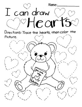 I Can Draw Hearts Tracing Valentine's Day Activity