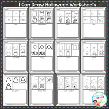 I Can Draw Worksheets Halloween