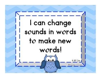 I Can! ELA Kindergarten Reading Foundational Skills Colorful Owl Theme