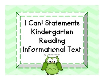 I Can! ELA Kindergarten Reading Informational Text Colorfu
