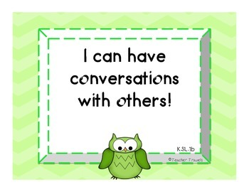 I Can! ELA Kindergarten Speaking and Listening Colorful Owl Theme