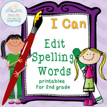 Edit Spelling Words Practice for Second Grade