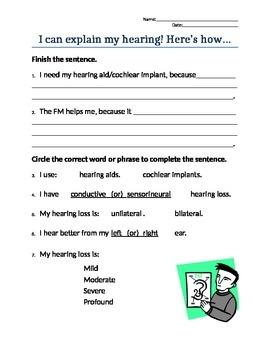 I Can Explain My Hearing Loss! self-advocacy worksheet
