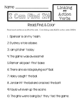 I Can Find It! - Linking & Action Verbs