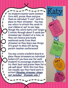 """""""I Can"""" First Grade Common Core (Math) Streamers"""