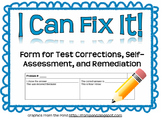 I Can Fix It! Form (Reflection and Test Correction)