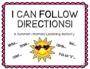 I Can Follow Directions! A Summer-themed Listening Activity