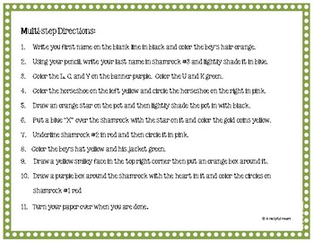 I Can Follow Directions! A St. Patrick's Day-themed Listening Activity