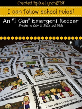 """I Can"" Follow School Rules!  Emergent Reader Book {Color and Black & White}"