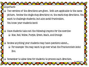 I Can Follow Directions! A Halloween-themed Listening Activity