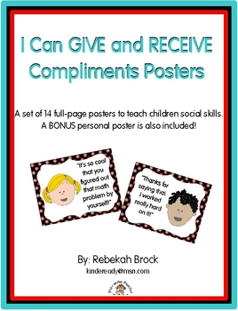 I Can GIVE and RECEIVE Compliments Posters:  14 Posters to