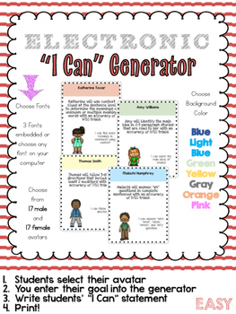 "I Can Generator - Easily Make & Customize your Students' ""I Can"" Statements"