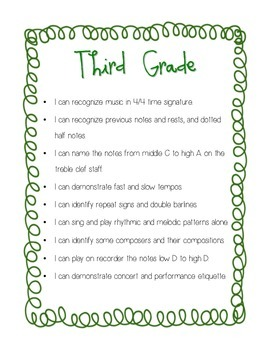 """I Can"" Grades 3/4 Curriculum Statements"