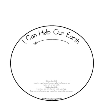 I Can Help Take Care of Our Earth Theme Book for Students to Make