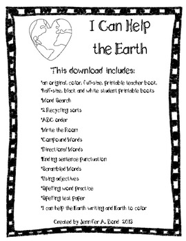 I Can Help the Earth printable book and activities