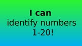 I Can Identify Numbers 1-20 Powerpoint
