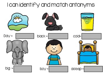 I Can Identify and Match Antonyms