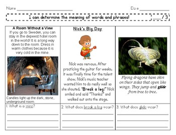 I Can Identify the Meaning of Words and Phrases! (Assessment and Practice)
