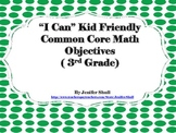 I Can Kid Friendly Common Core Math Objectives 3rd Grade Green Polka Dotted